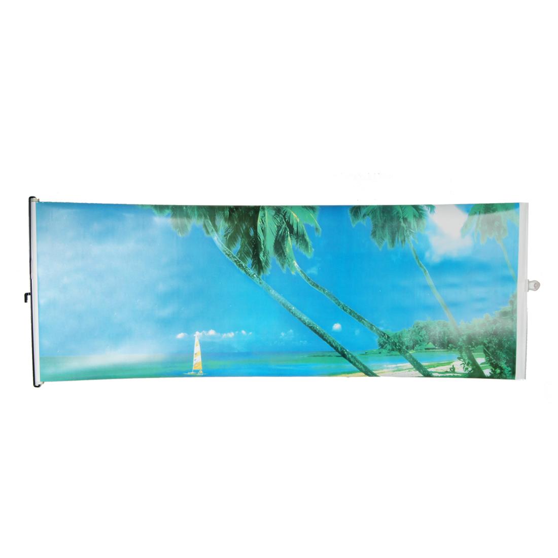 Car Retractable Window Screen Seaside Scenery Pattern Sun Shade Guard