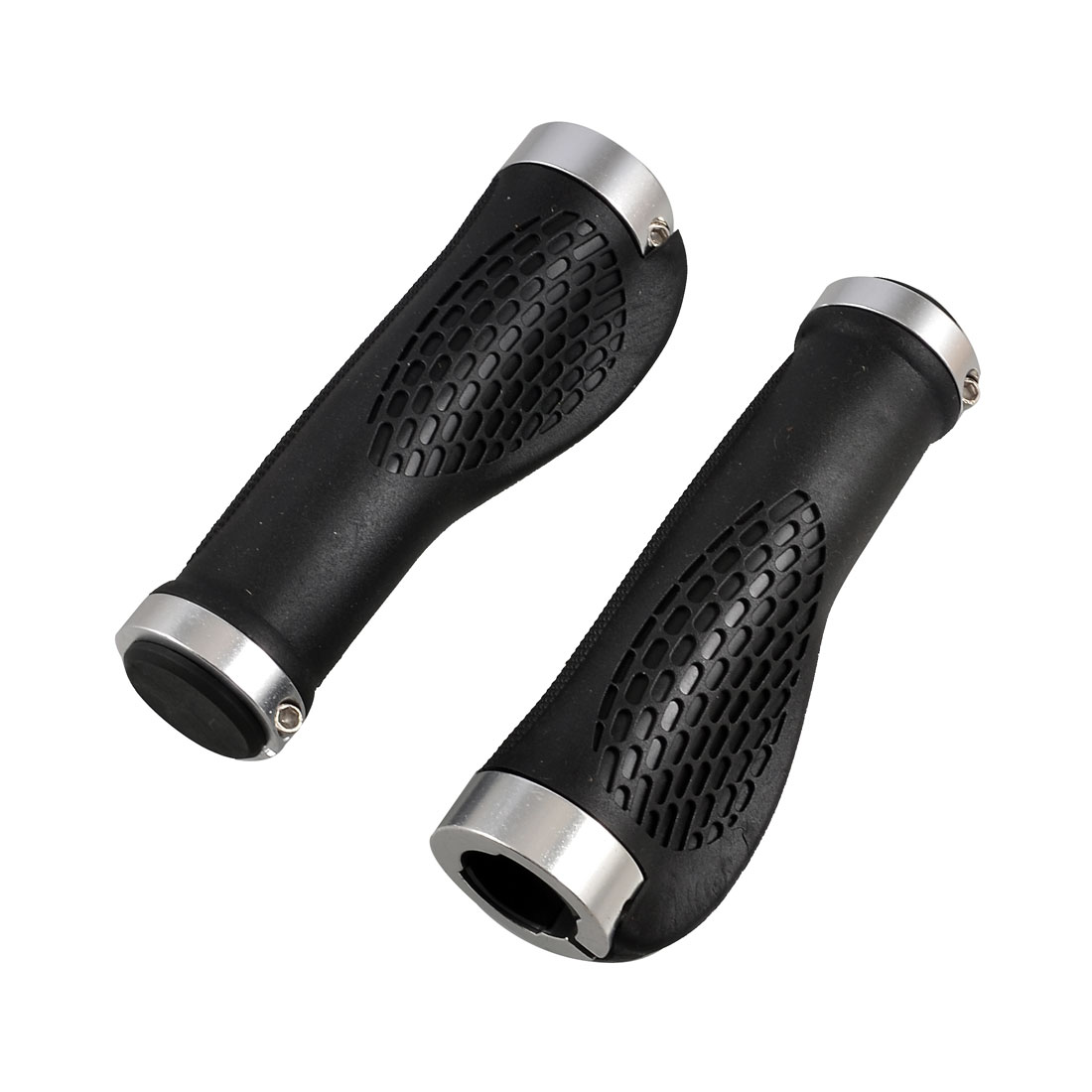 Black Silver Tone Bike Bicycle Right Left Handlebar Hand Grips Pair