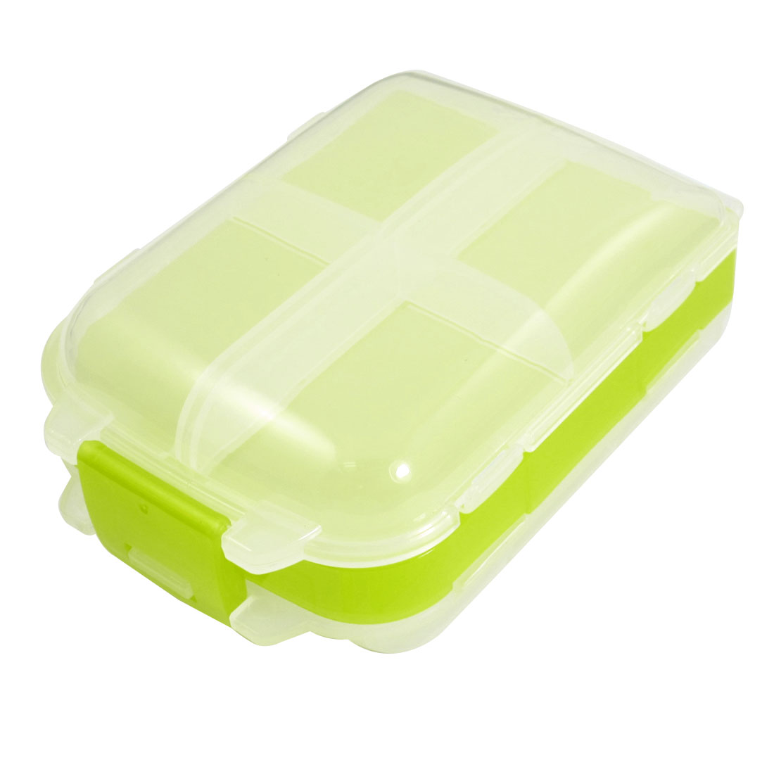 Plastic 8 Compartments Jewelry Electronic Components Case Clear White Green