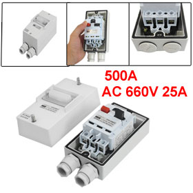 AC 660V 3 Pole 19A-25A Adjustable Switch Circuit Breaker w Waterptoof Box