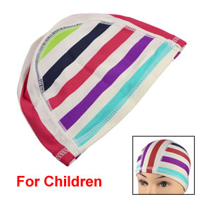 Dome Design Stripe Patterns Polyester Head Cover Swimming Cap