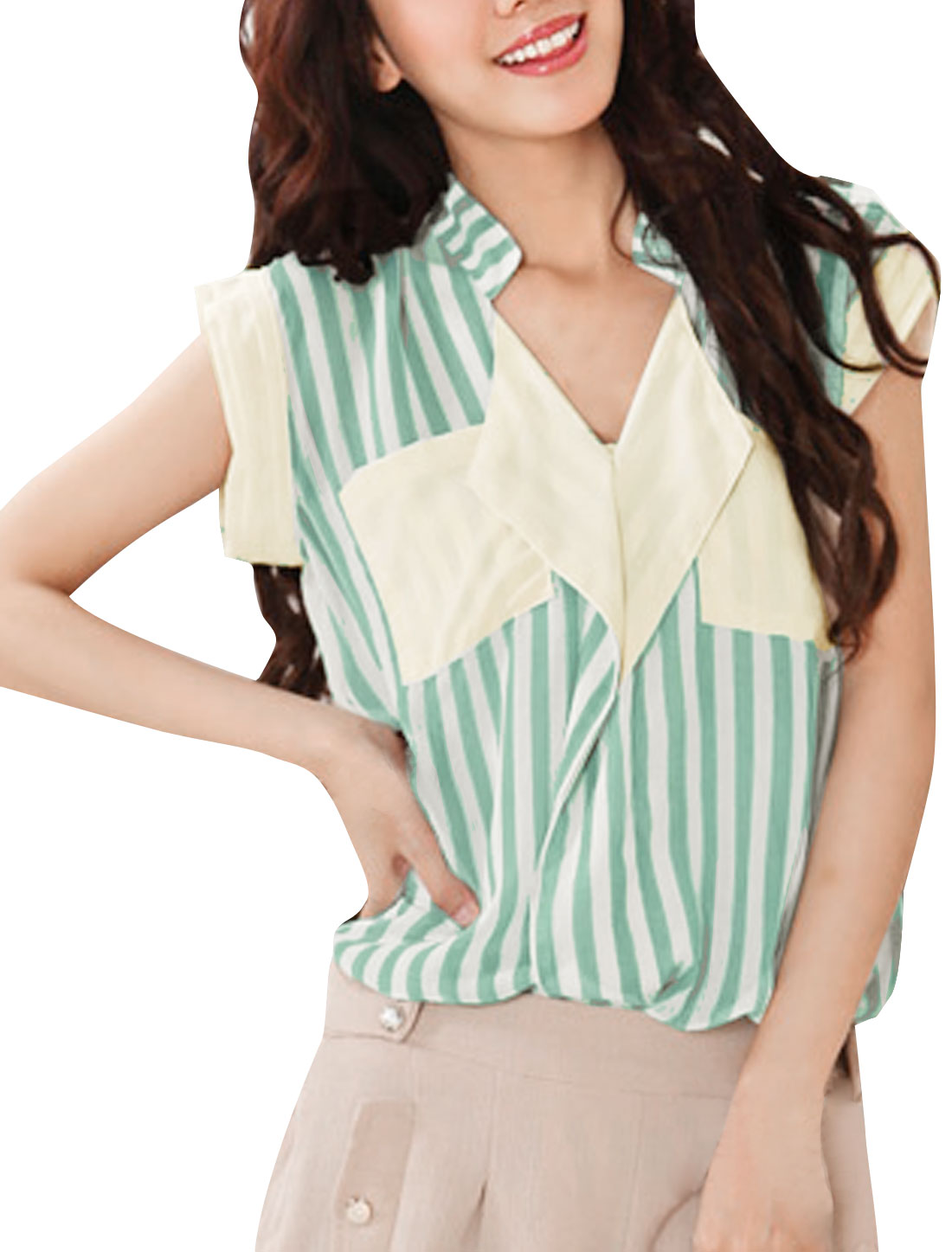 Woman Petal Sleeves V Neck Front Pockets Green White Stripes Casual Shirt S