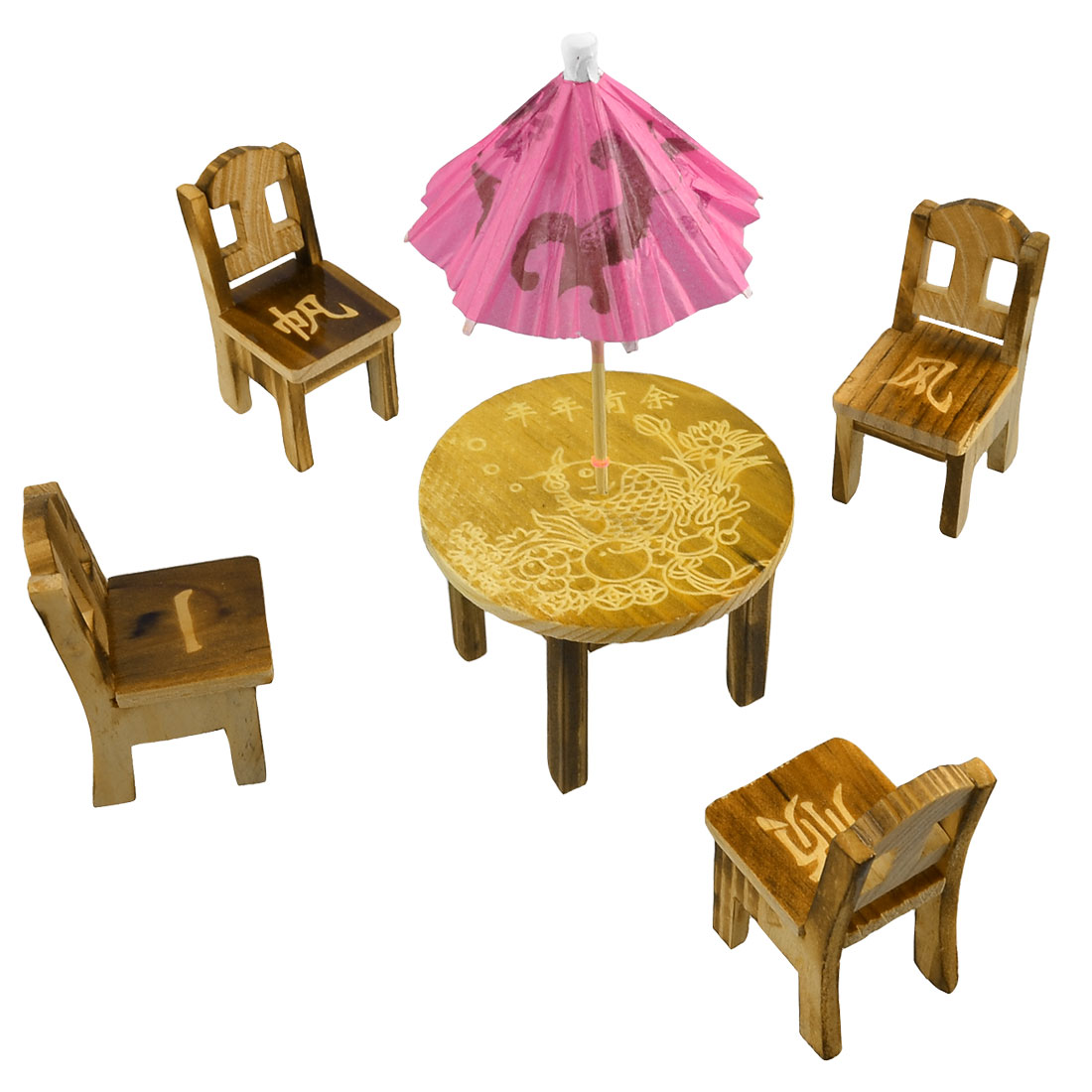 Chinese Delicate Fish Pattern Wooden Chair Table Umbrella Set Toy