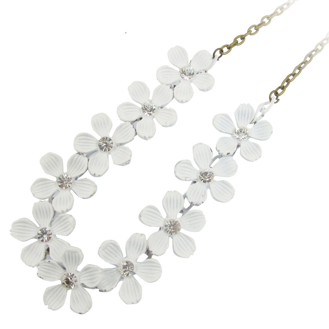 White Flowers Pendant Bronze Tone Metal Necklace for Woman