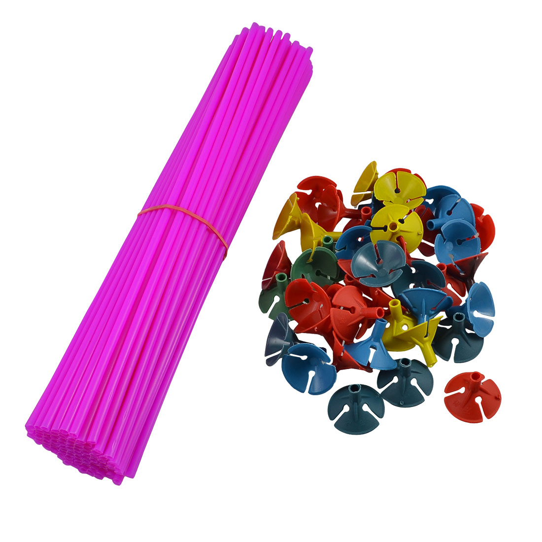 Party Favours Fuchsia Balloon Sticks w Multicolored Holders 100 Pcs