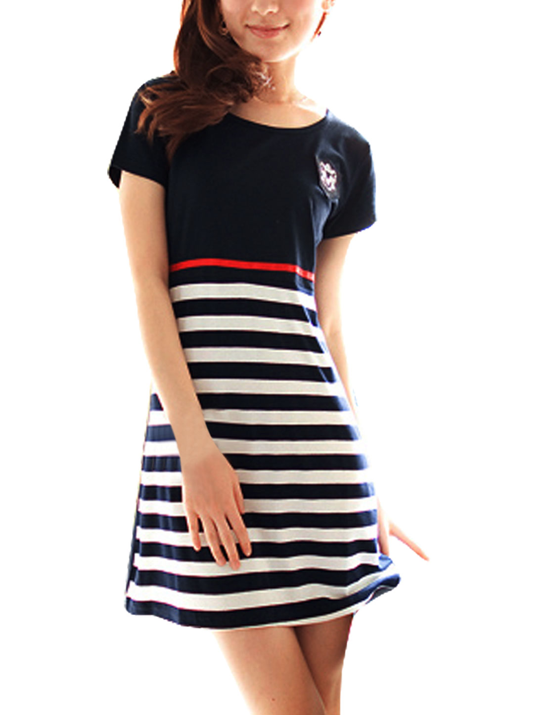 Maternity Motherhood Dark Blue Stripes Pattern Round Neck Knee-length Dress XL