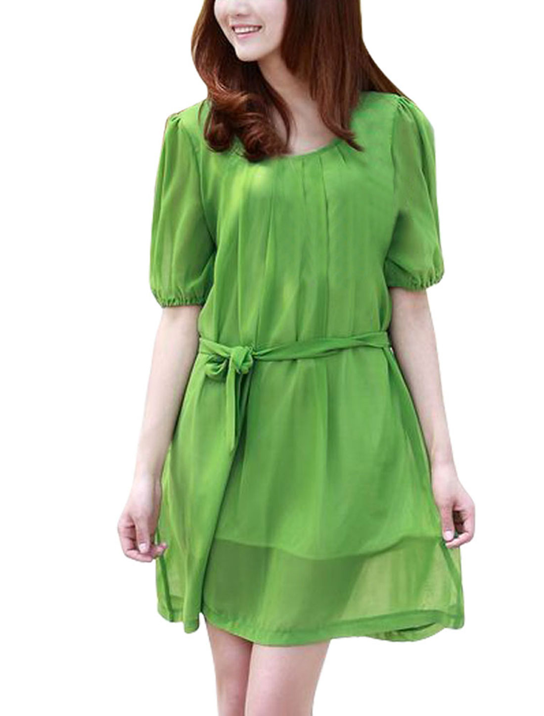 Maternity Pregnancy Green Solid Color Short Sleeve Knee-length Chiffon Dress L