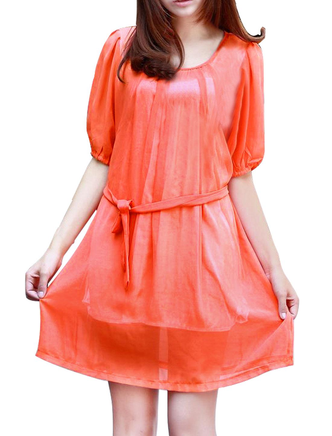 Maternity Motherhood Orange Loose Short Sleeve Summer Scoop Neck Chiffon Dress L