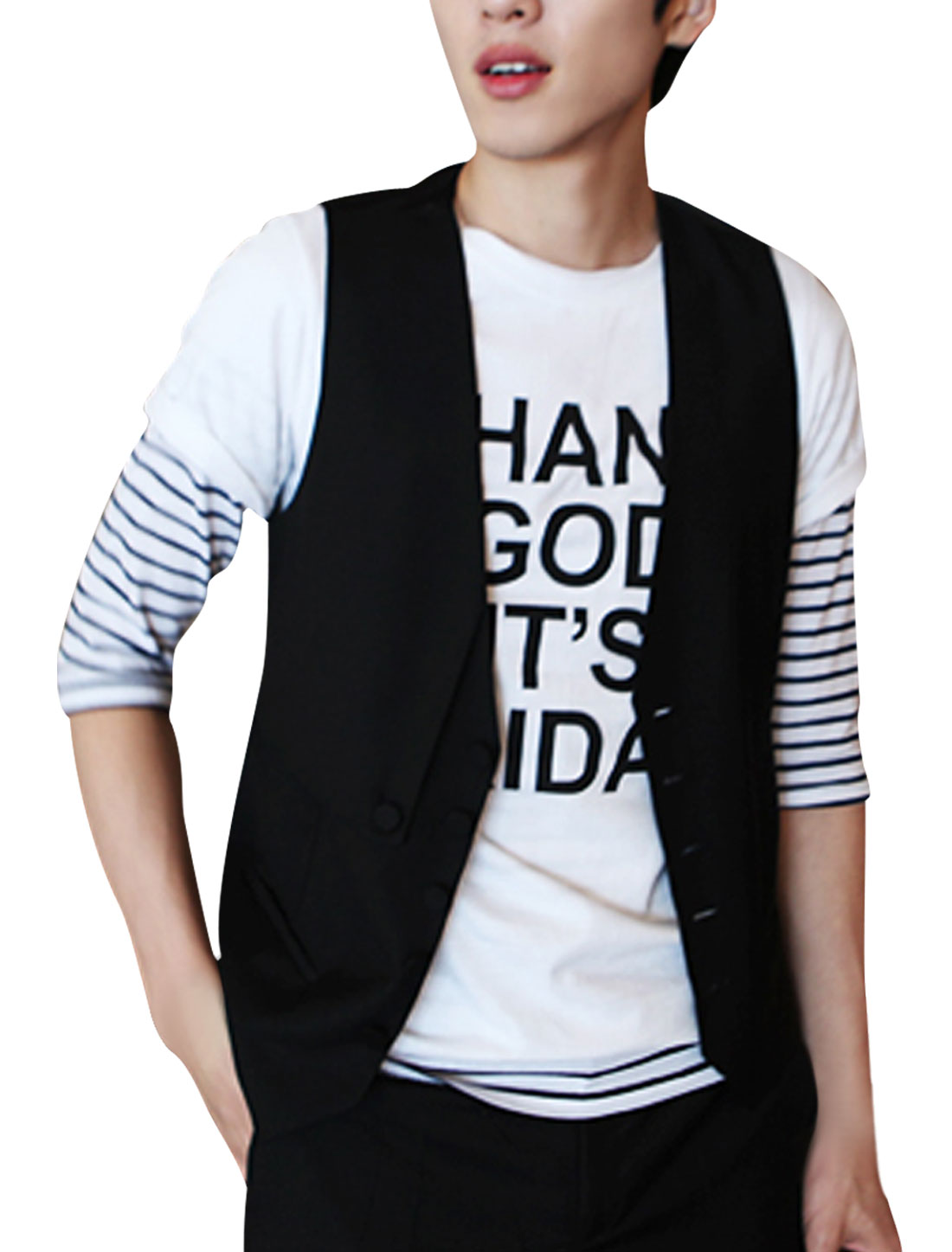 Men Black Deep V Neck Single Breasted Mock Pocket Detail Casual Vest XS