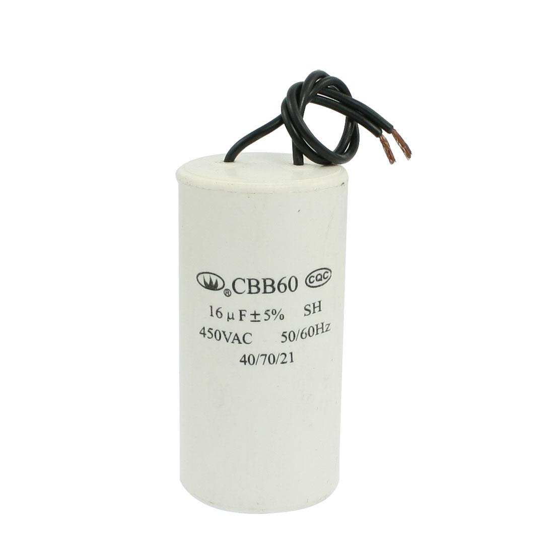 White 16uF 2 Wire Motor Running CBB60 SH Capacitor AC 450V