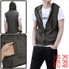 Mens Casual Zi Closure Leisure Hoodie Vests Dark Gray S