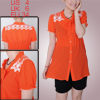 Women V Neck Short Sleeve Single Breasted Maternity Shirt Orange S