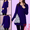 Pregnant Woman Scoop Neck Long Sleeve Long Soft Knit Shirt Dark Blue XS