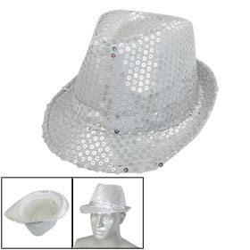 Silver Tone Paillette Decor White Nylon Casual Hat for Lady