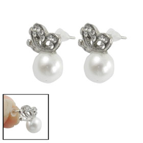 Pair White Plastic Faux Pearl Butterfly Design Stud Earrings for Lady