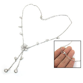 White Flower Shape Pendant Silver Tone Chain Lobster Closure Necklace