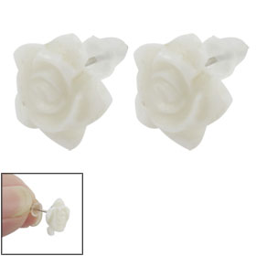 2 Pcs White Plastic Rose Design Silver Tone Stud Earrings for Ladies