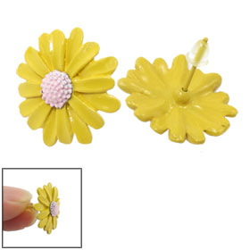 Pair Yellow Pink Chrysanthemum Design Stud Earrings for Lady