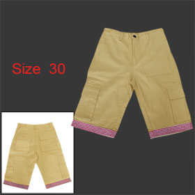 Mens Khaki One Button Zip FLy Stylish Patch Pockets Plaids Flanging Short Pants Trousers S