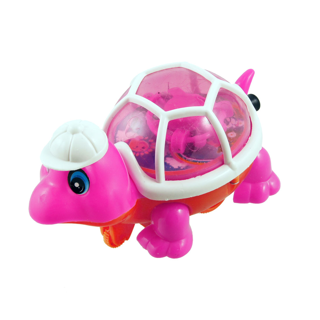 Pull Line Drive Plastic LED Light Turtle Animal Toy Magenta White for Kids