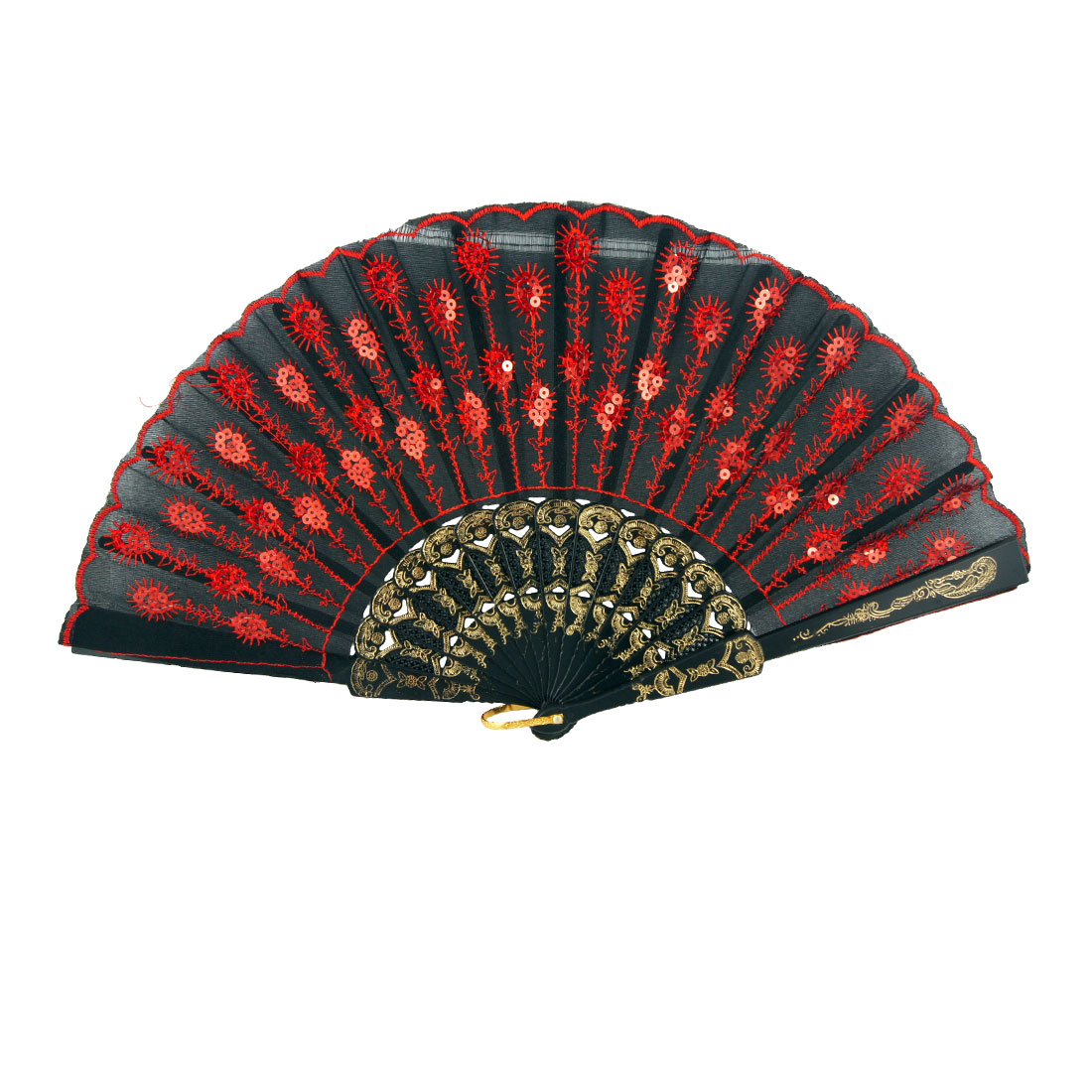 Red Embroidered Peacock Glitter Sequins Detailing Black Cloth Foldable Hand Fan