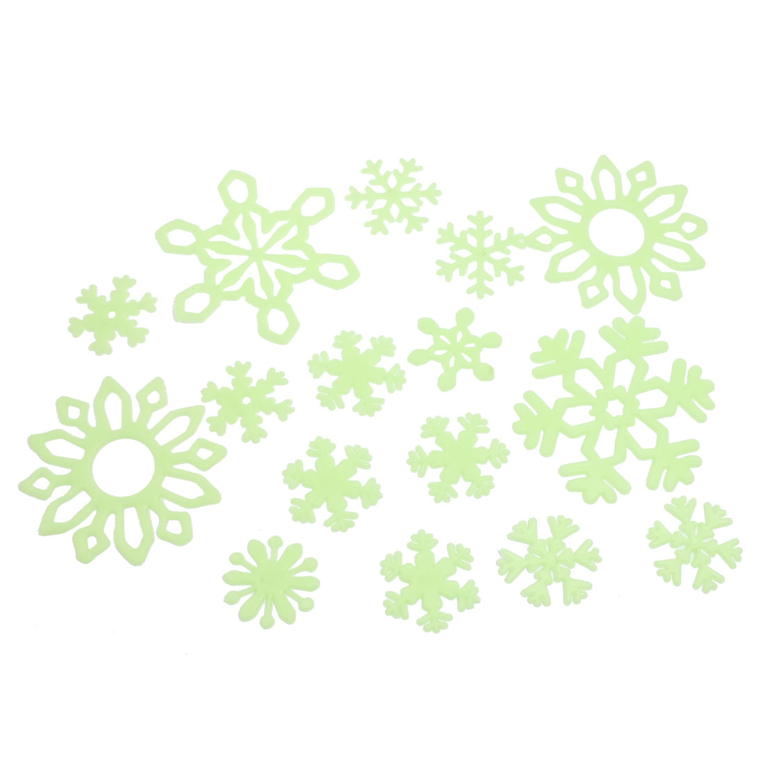 16pcs Christmas Home Wall Snowflake Design Glow In The Dark Stickers Decor