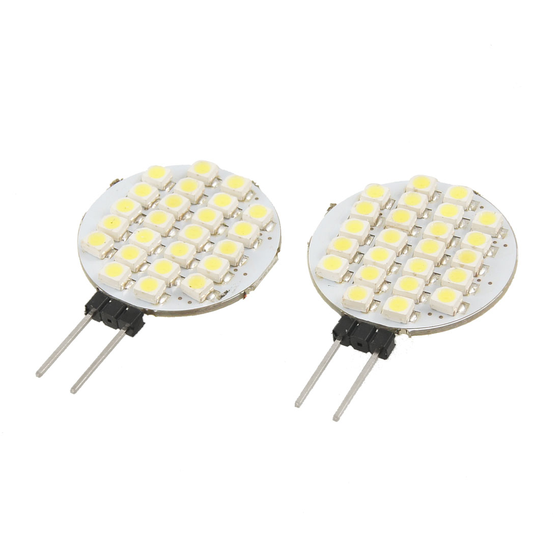 2 Pcs White 24 SMD LEDs 1210 Vertical G4 Side Pin Lamp Lights Bulb