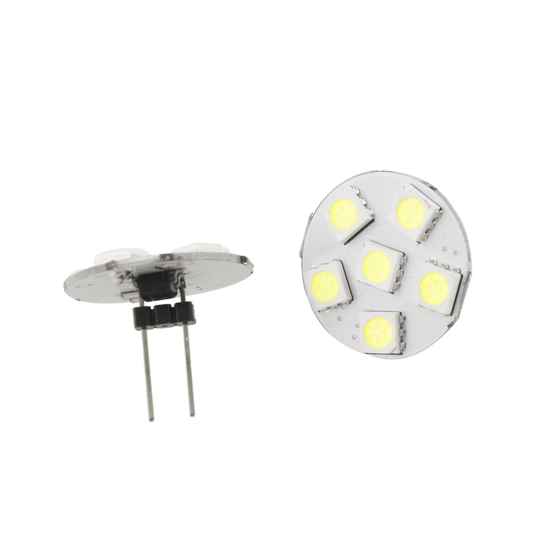 2 Pcs Car Auto White 5050 SMD 6 LEDs Vertical G4 Back Pin Light Bulb
