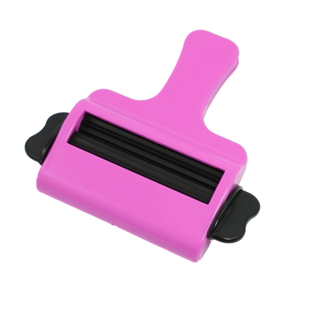 Fuchsia Black Plastic Hair Salon Cream Tint Toothpaste Squeezer Dispenser