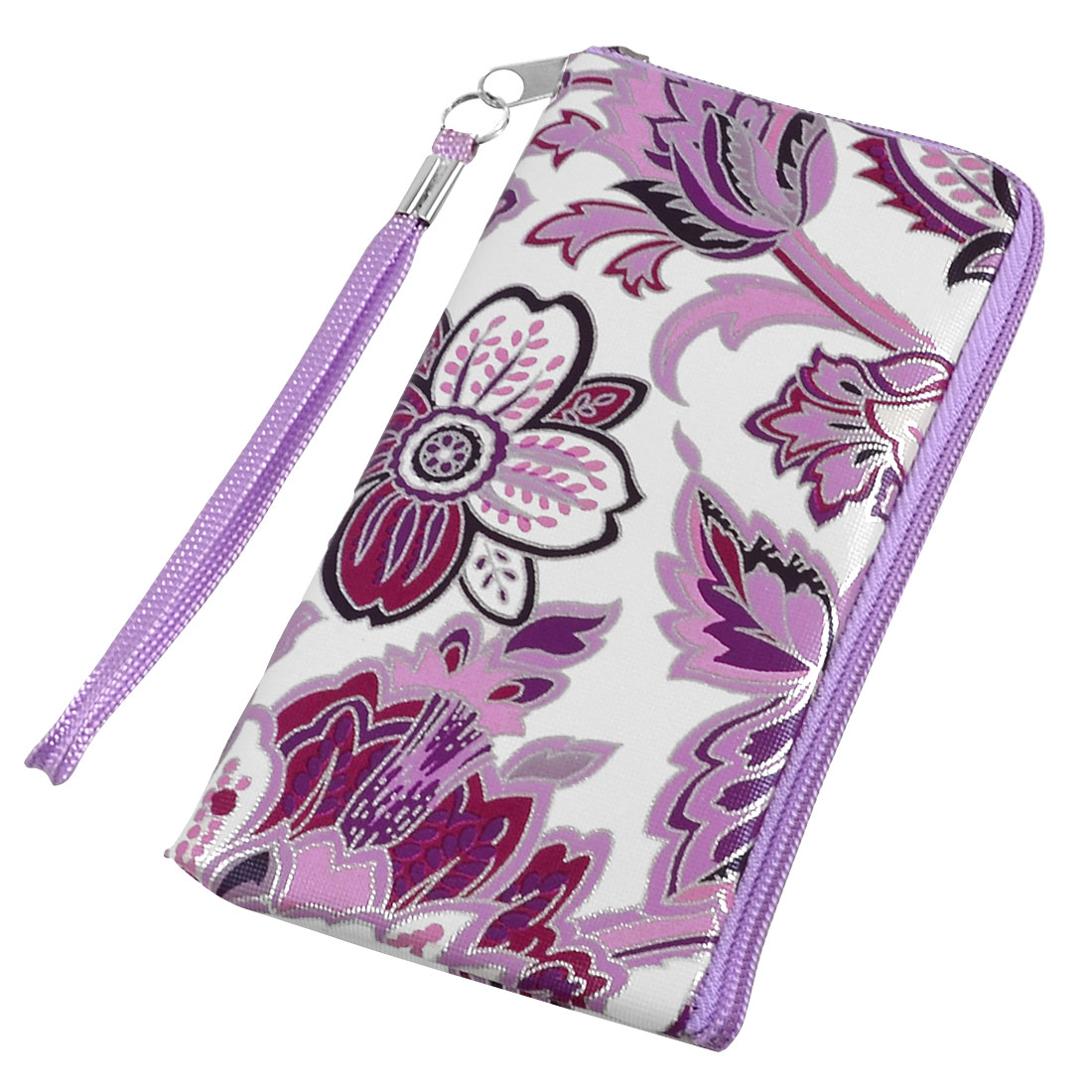 Purple White Floral Prints Cell Phone MP3 MP4 Pouch Bag w Strap