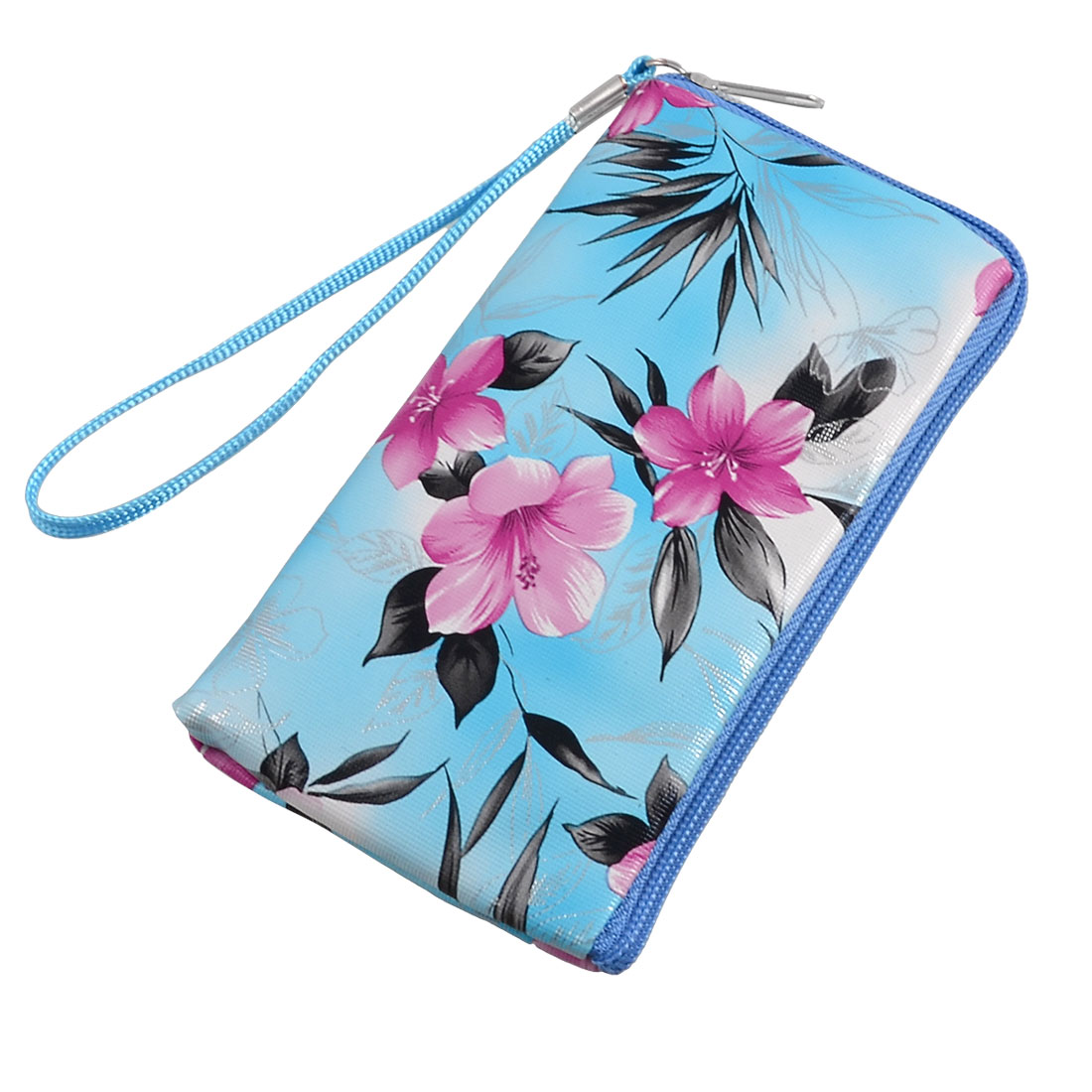 Blue Red Floral Prints Cell Phone MP3 MP4 Pouch Bag w Strap