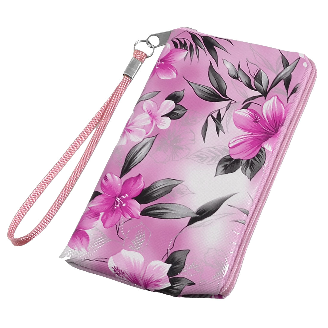 Gray Pink Floral Prints Cell Phone MP3 MP4 Pouch Bag w Strap