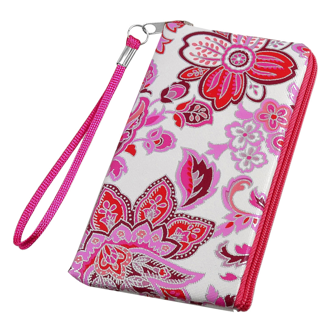 Red White Floral Prints Cell Phone MP3 MP4 Pouch Bag w Strap
