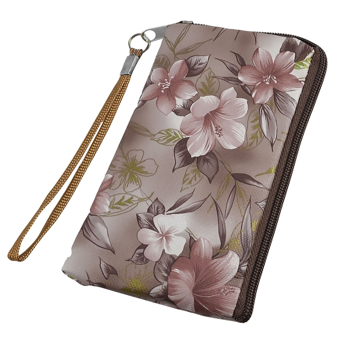 Gray Brown Floral Prints Cell Phone MP3 MP4 Pouch Bag w Strap