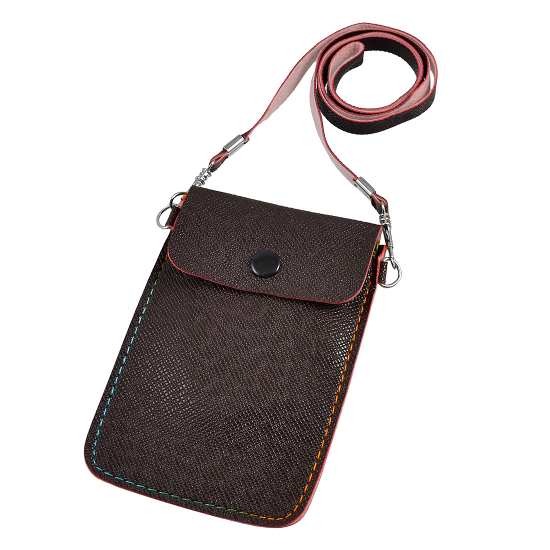 Dark Brown Rectangle PVC Faux Leather Pouch Bag for Cell Phone Mp3 MP4