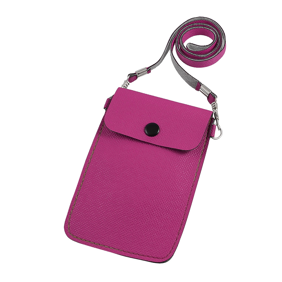 Fuchsia Rectangle PVC Faux Leather Pouch Bag for Cell Phone Mp3 MP4