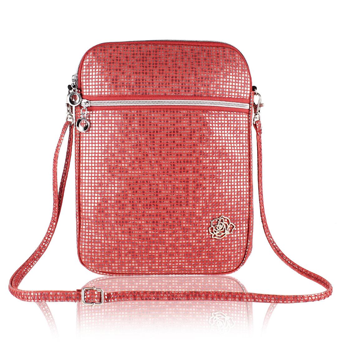 """10"""" 10.1"""" 10.2"""" Red Faux Leather Laptop Sleeve Shoulder Messenger Bag"""