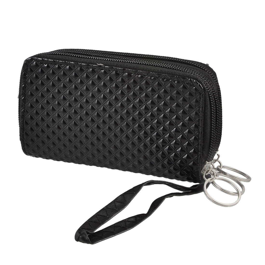 Black Faux Leather Plaid Pattern 3 Zippered Compartments Purse Wallet w Keyring