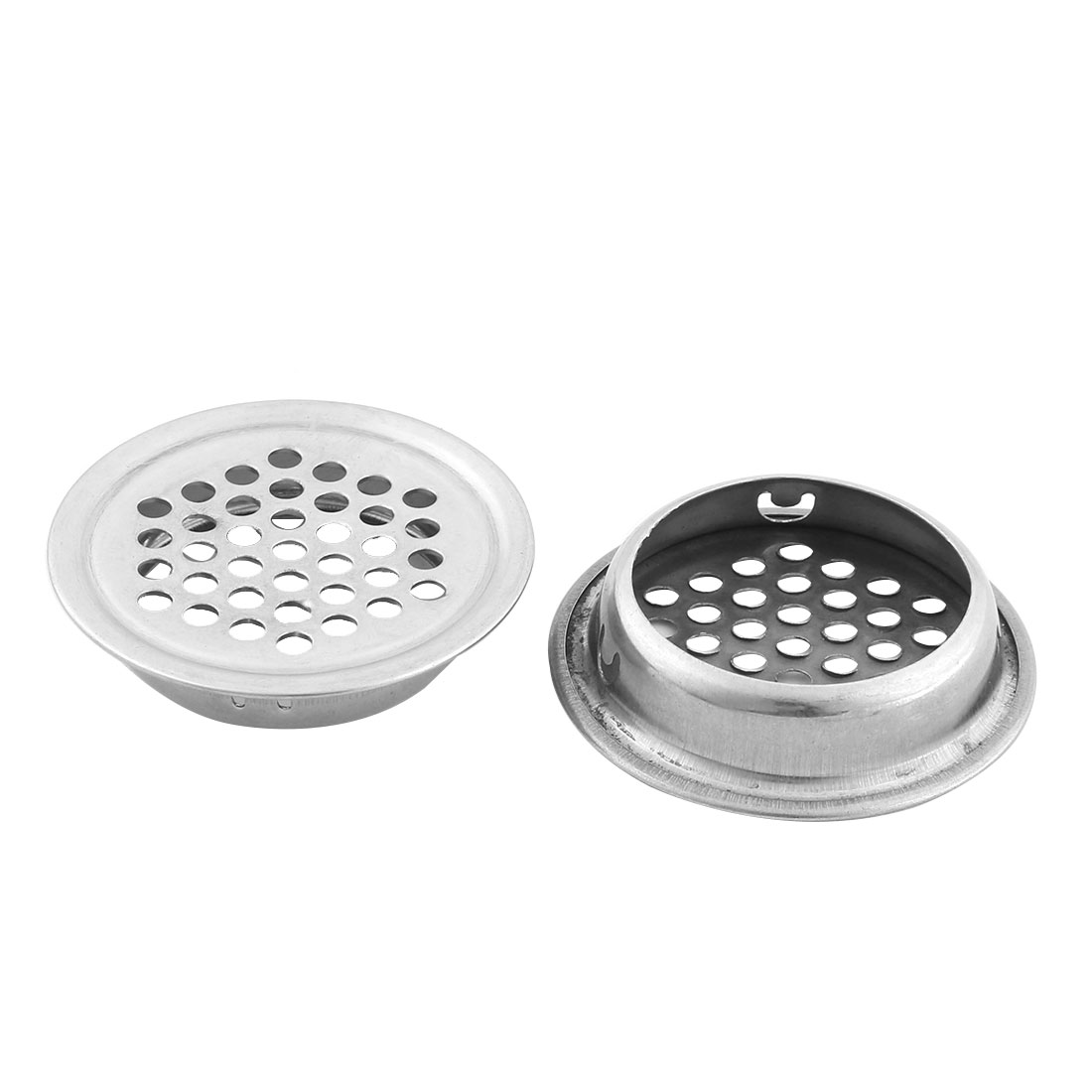 Household Metal Round Perforated Mesh Design Sink Strainer 3.5cm Diameter 2 Pcs