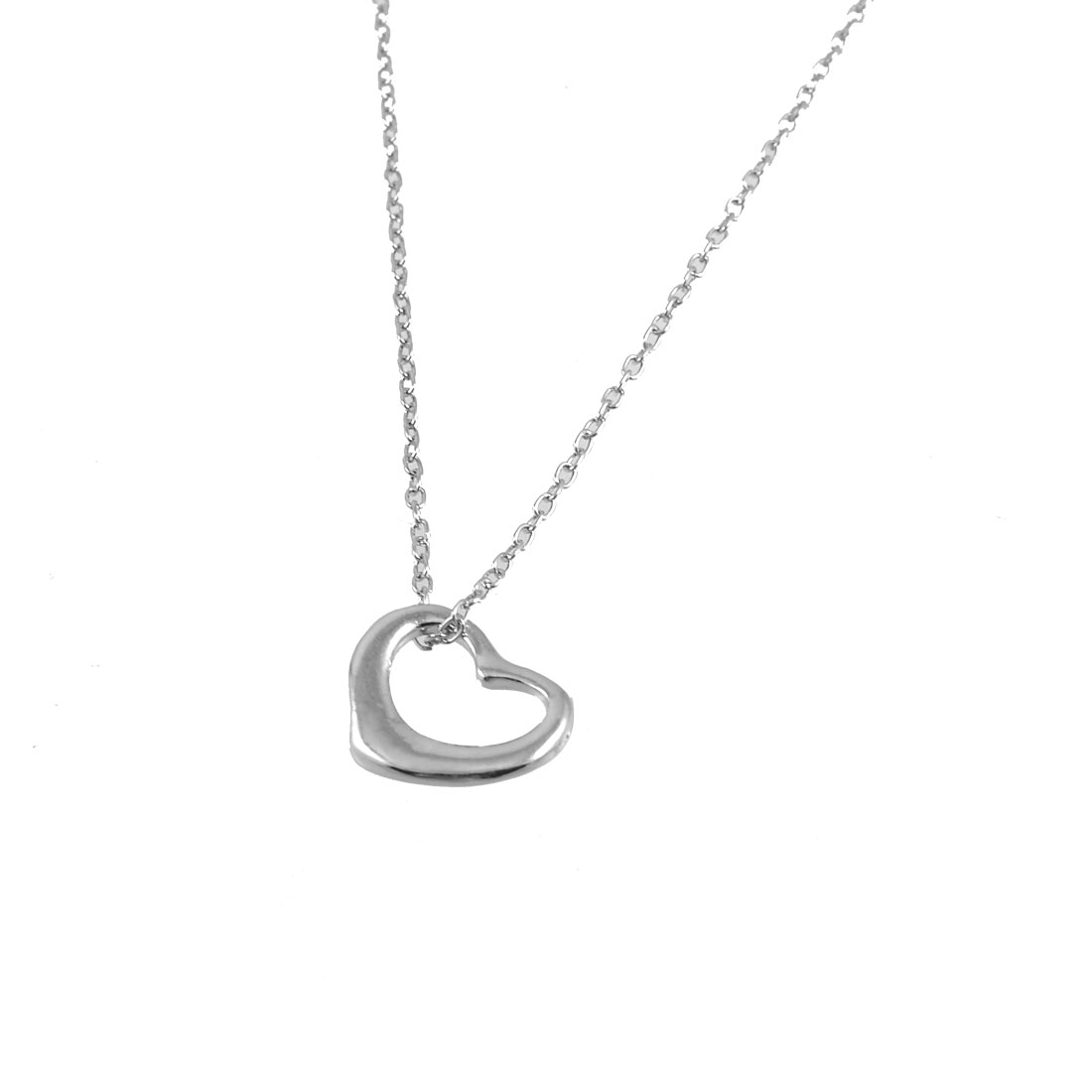Ladies Jewerly Silver Tone Hollow Heart Pendant Metal Chain Necklace