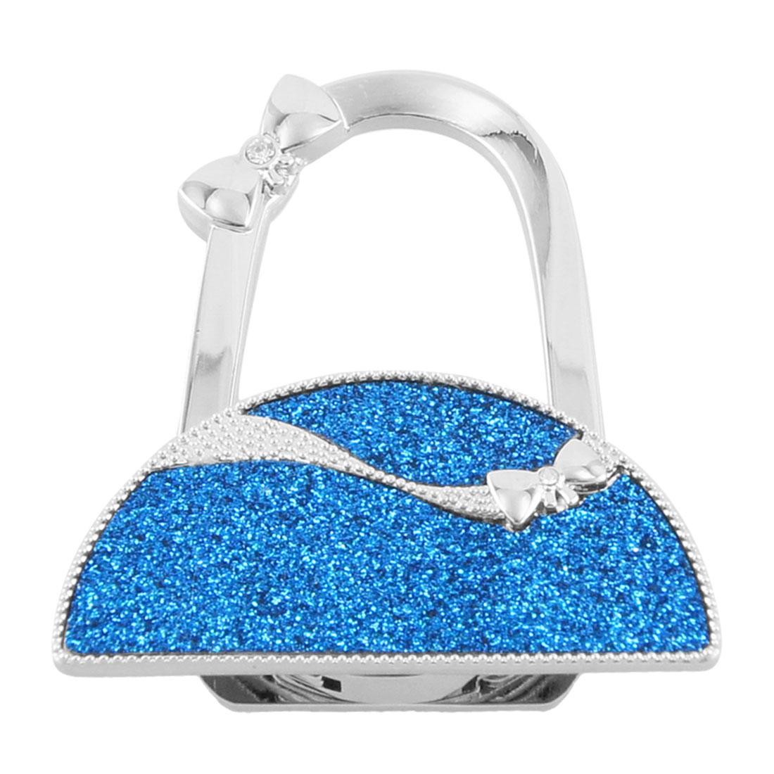 Glittering Blue Semicircle Shape Folding Handbag Hook Purse Hanger Holder