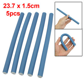5 Pcs Blue Foam Coated Folding Folded Hair Bar Rollers