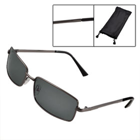 Men Women Rectangular Lens Dark Gray Full Rim Outdoor Polarized Sunglasses