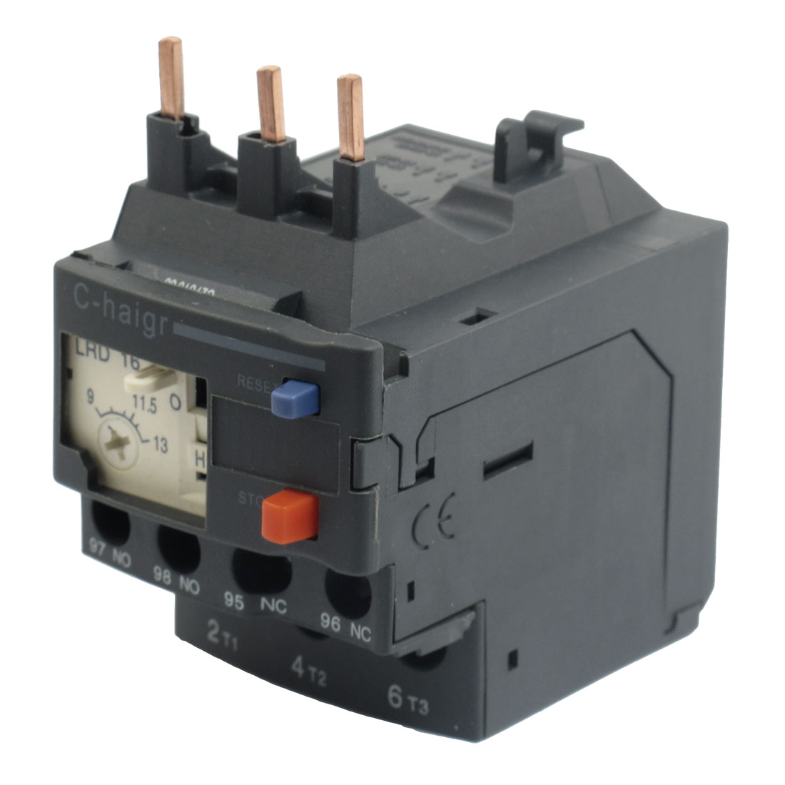 3 Pole AC 9A - 13A Black Electric Thermal Overload Relay 1 NO 1 NC