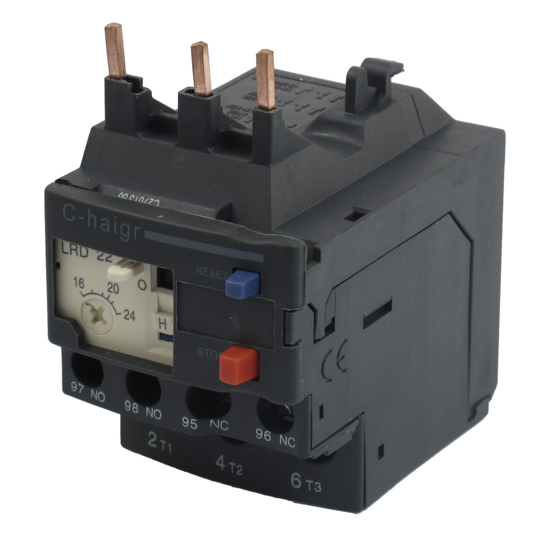 3 Pole AC 16A - 24A Black Electric Thermal Overload Relay 1 NO 1 NC