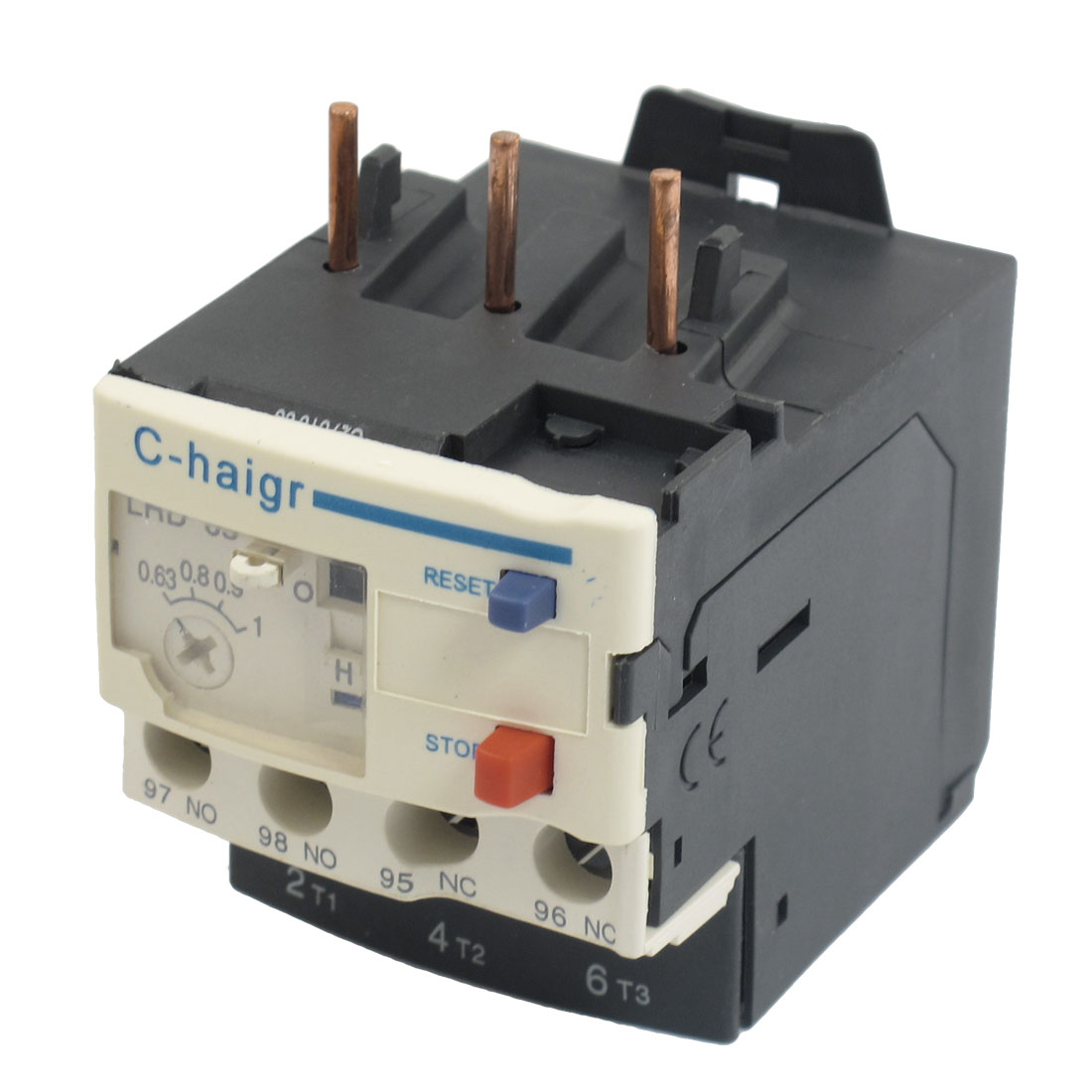 3 Pole AC 0.63A - 1A Electric Thermal Overload Relay 1 NO 1 NC
