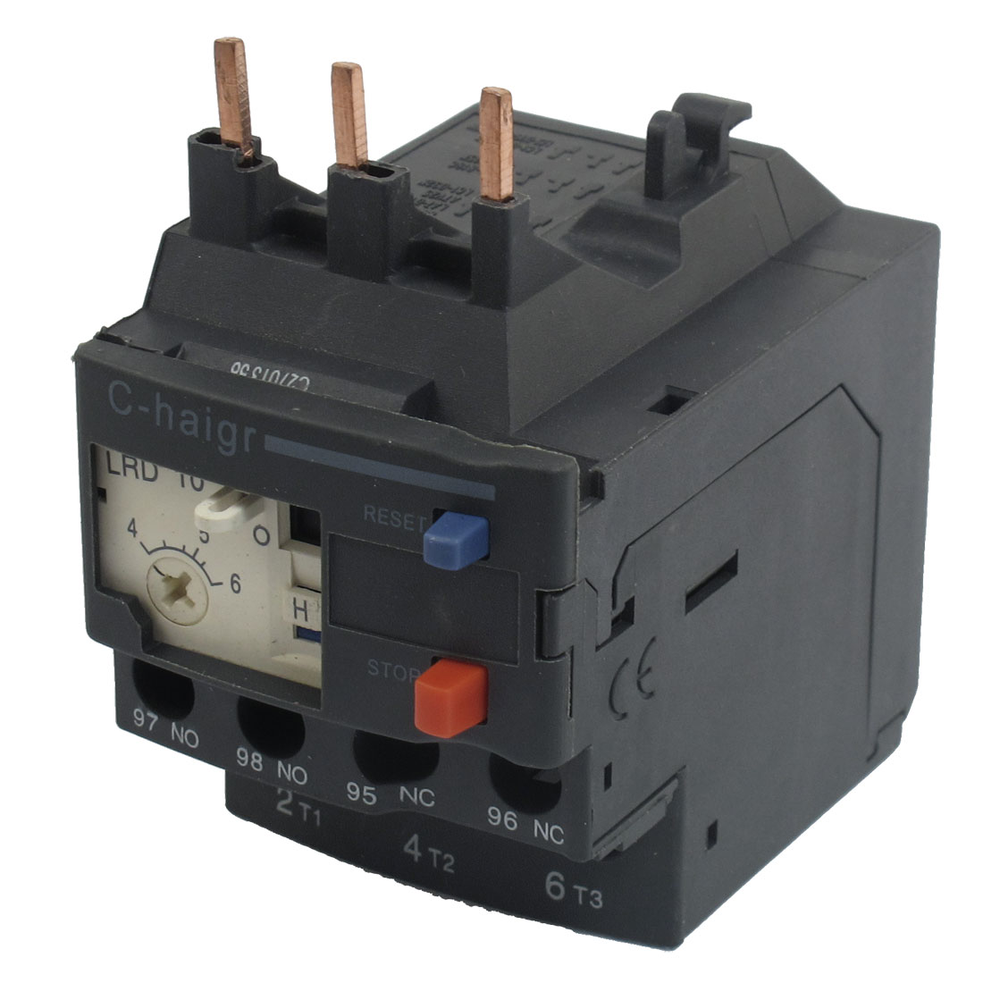 3 Pole AC 4A - 6A Black Electric Thermal Overload Relay 1 NO 1 NC