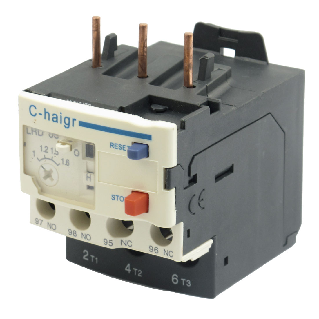 3 Pole AC 1A - 1.6A Electric Thermal Overload Relay 1 NO 1 NC