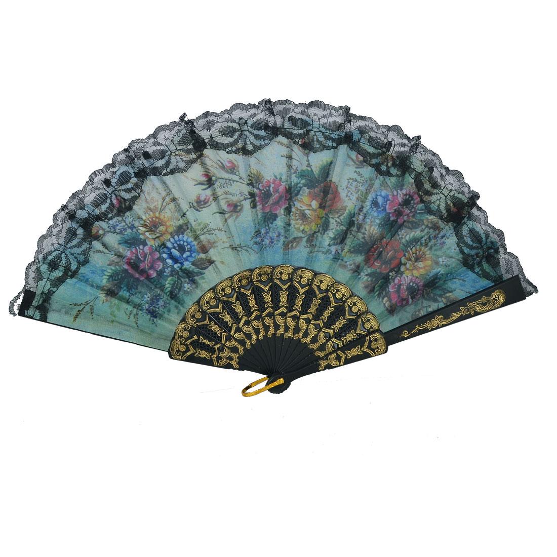 Black Lace Trim Multicolor Flower Pattern Organza Chinese Folding Fan