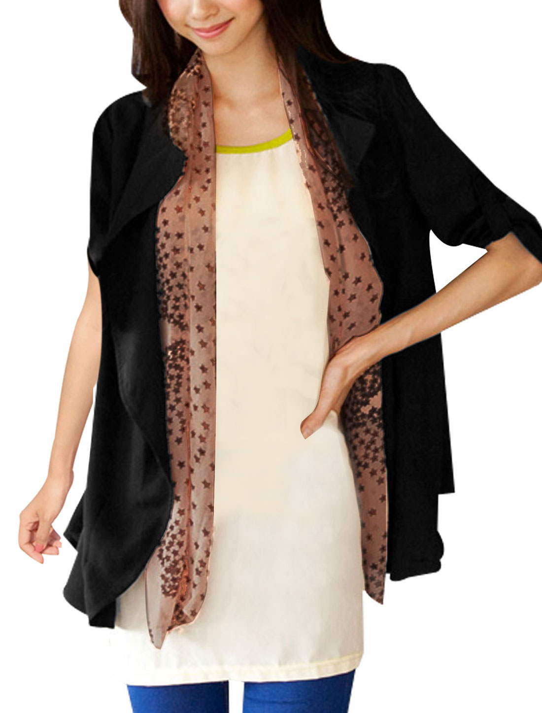 Women Front Opening 3/4 Roll Up Sleeves Cardigan w Scarf Black XS